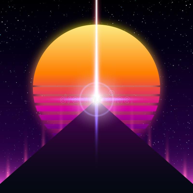 Synthwave retro ontwerp, Piramide, straal en zon, illustratie royalty-vrije illustratie