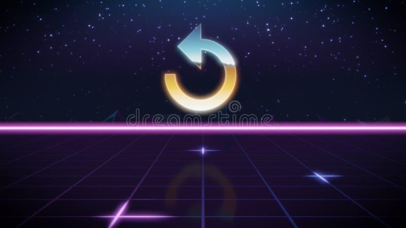 synthwave retro ontwerppictogram van herhalingspijl stock illustratie