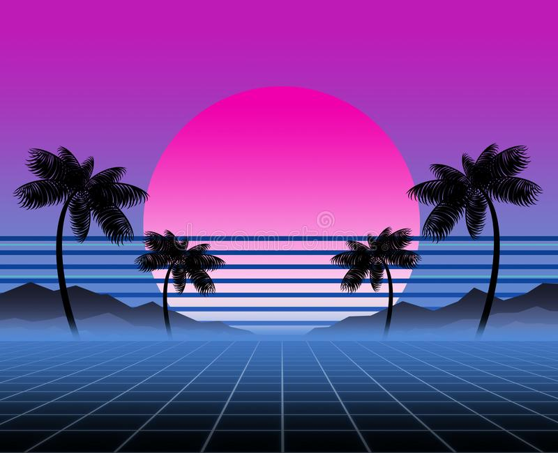 Synthwave and retrowave background template. Palms, sun and space in computer game. Retro design, rave music, 80s. Computer graphics and sci-fi technology royalty free stock photo