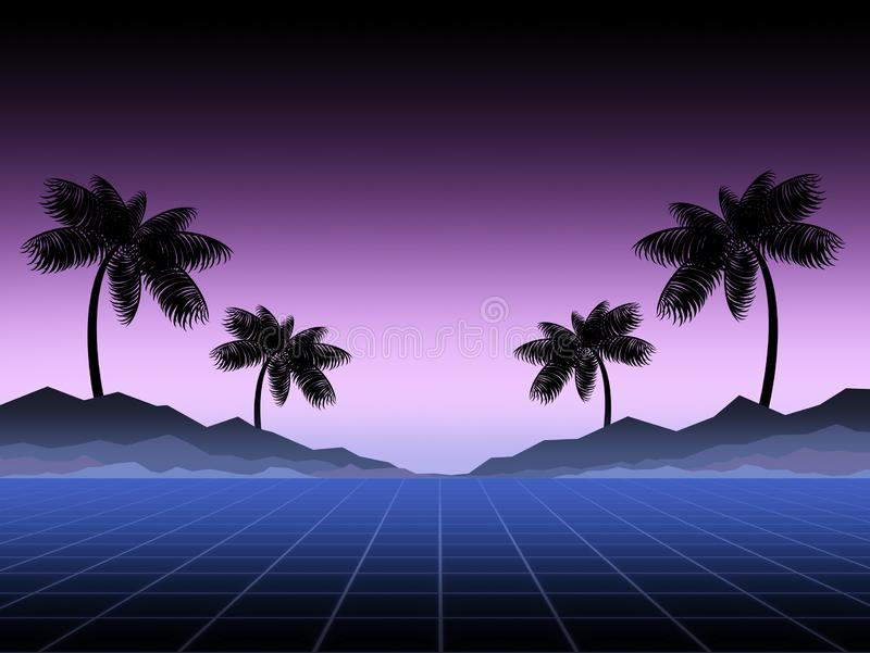 Synthwave and retrowave background template. Palms, sun and space in computer game. Retro design, rave music, 80s. Computer graphics and sci-fi technology stock photos