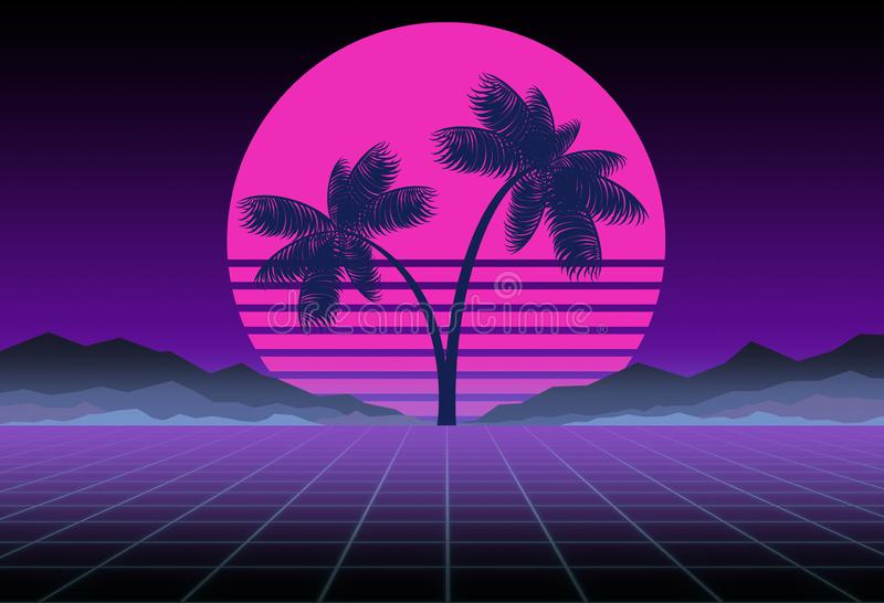 Synthwave and retrowave background template. Palms, sun and space in computer game. Retro design, rave music, 80s. Computer graphics and sci-fi technology royalty free stock photography