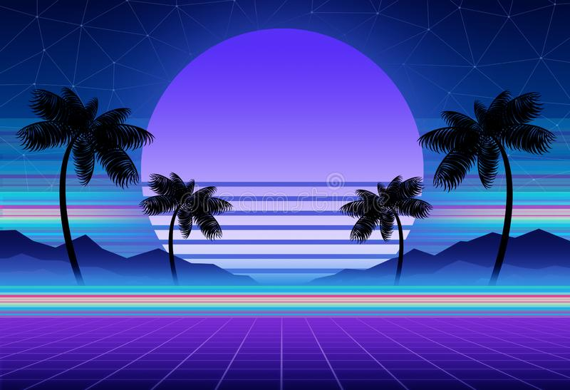 Synthwave and retrowave background template. Palms, sun and space in computer game. Retro design, rave music, 80s. Computer graphics and sci-fi technology stock photography