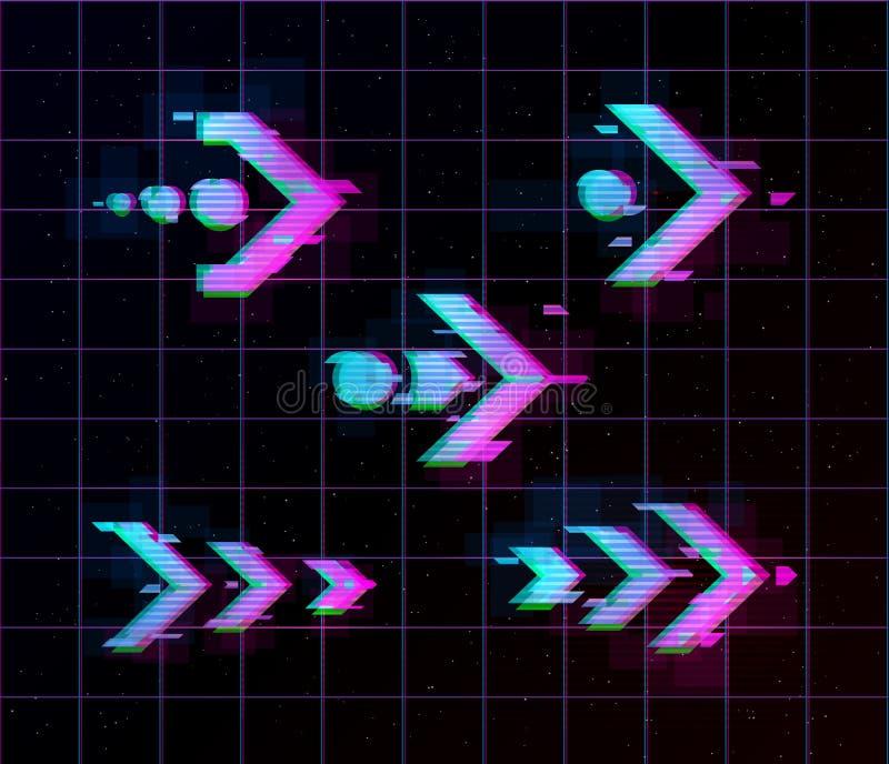 Synthwave vaporwave retrowave Glitch Pijlen, wijzers, richtingsreeks Glitch ontwerpelementen voor affiche, vlieger, dekking royalty-vrije illustratie