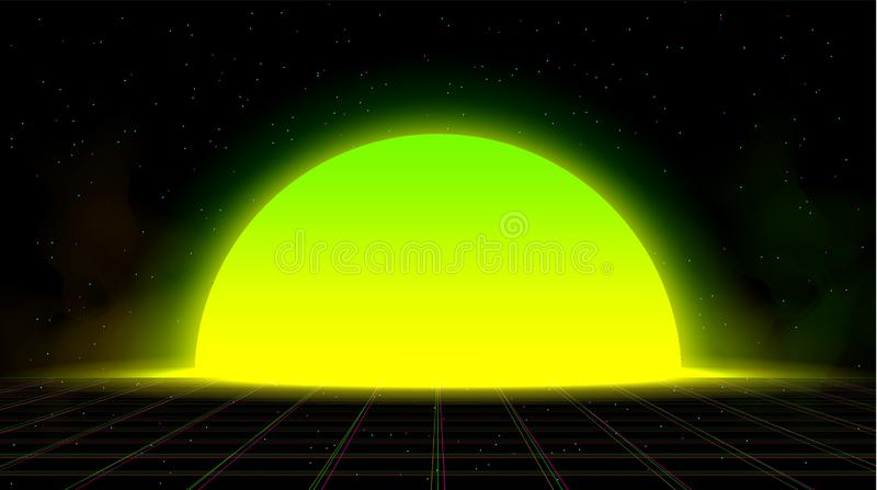 Synthwave vaporwave retrowave yellow green sunset background glitch laser grid, starry sky, yellow and green smoke vector illustration