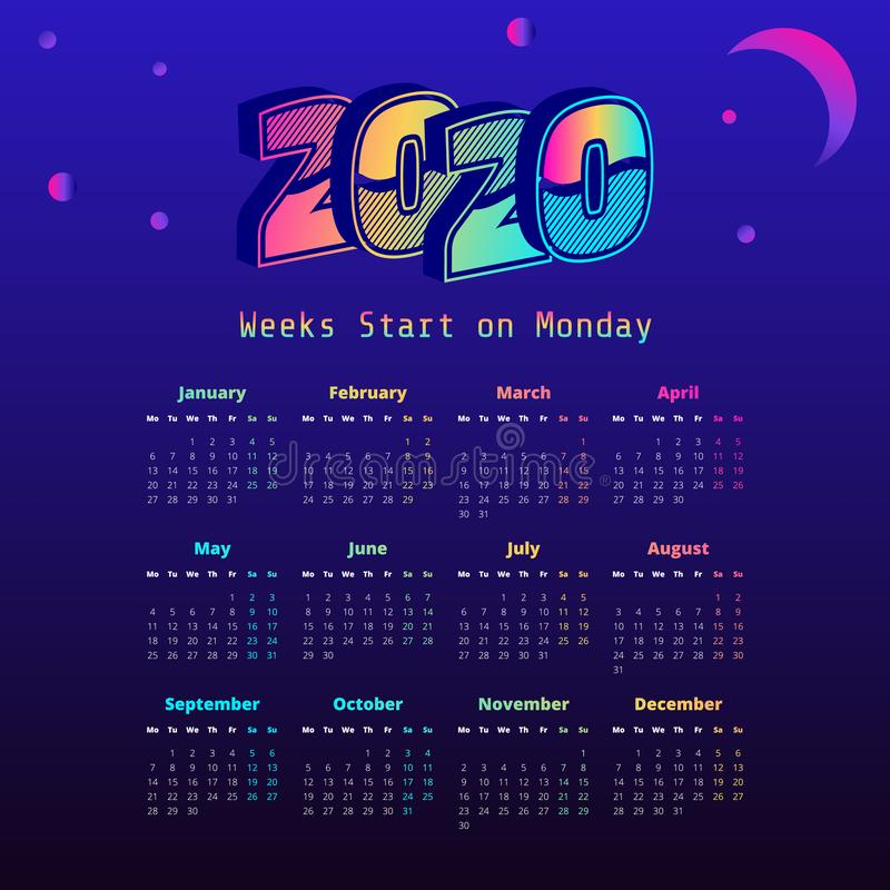 Synthwave 2020 year calendar. Week start on Monday vector illustration