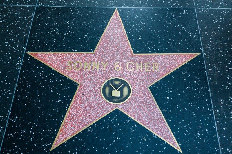 Synuś i Cher gwiazda hollywoodu obraz royalty free