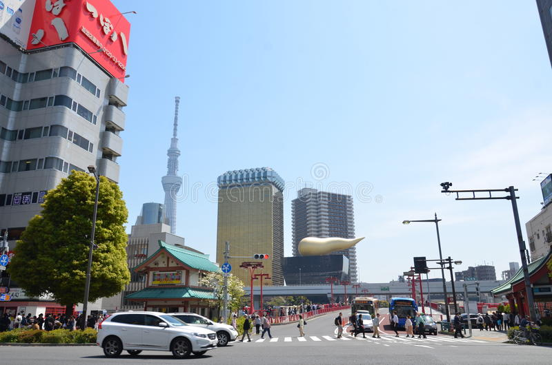 Synvinkel i det Asakusa området royaltyfri foto