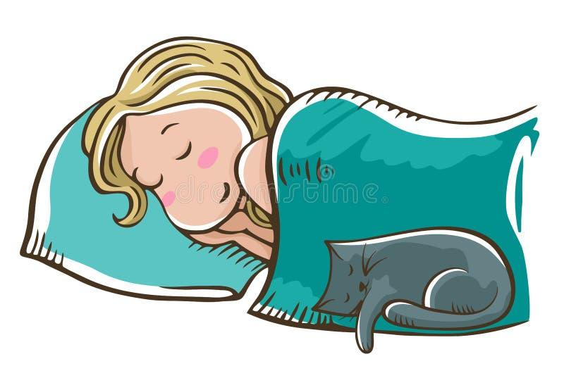 Sypialna blondynki dziewczyna na poduszce z kotem Dobranoc, s?odcy sen ilustracja wektor