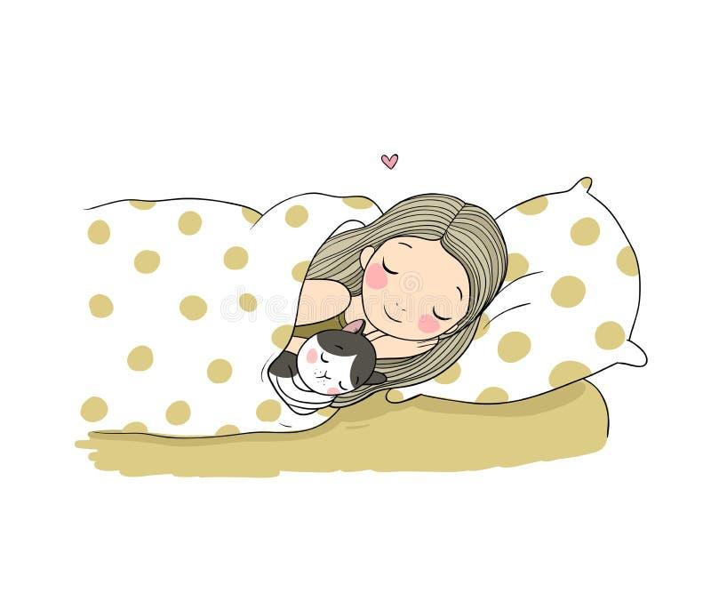Sypialna dziewczyna i kot w łóżku Wektorowa ilustracja z ptakami i kwiatami ilustracja wektor
