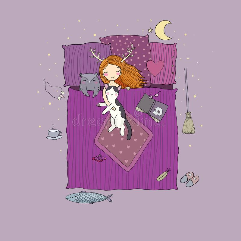 Sypialna dziewczyna i kot Wektorowa ilustracja z ptakami i kwiatami słodki sen ilustracja wektor