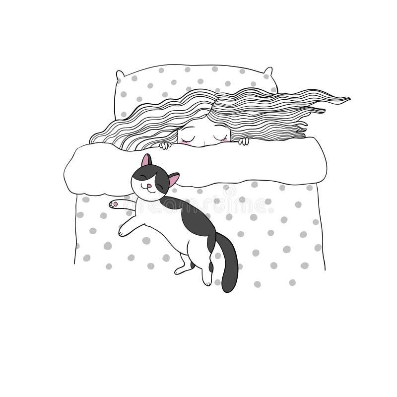 Sypialna dziewczyna i koty Wektorowa ilustracja z ptakami i kwiatami słodki sen ilustracja wektor