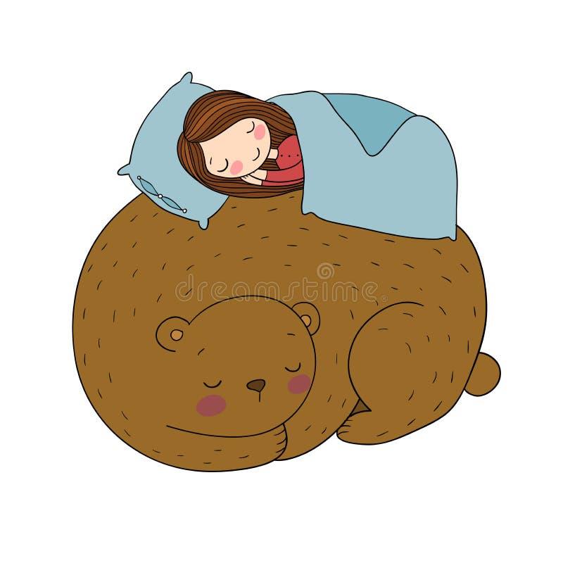 Sypialna dziewczyna i niedźwiedź Dobra bajka royalty ilustracja