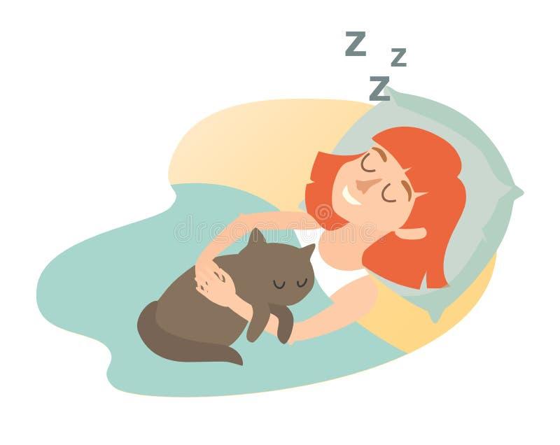 Sypialna dziewczyna z kotem kreskówki szczęśliwa kobieta słodki sen Sypialna dziewczyny ikona ilustracja wektor