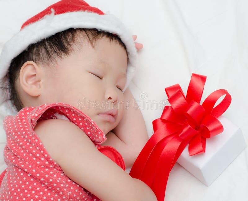Sypialna dziewczynka Święty Mikołaj obrazy stock
