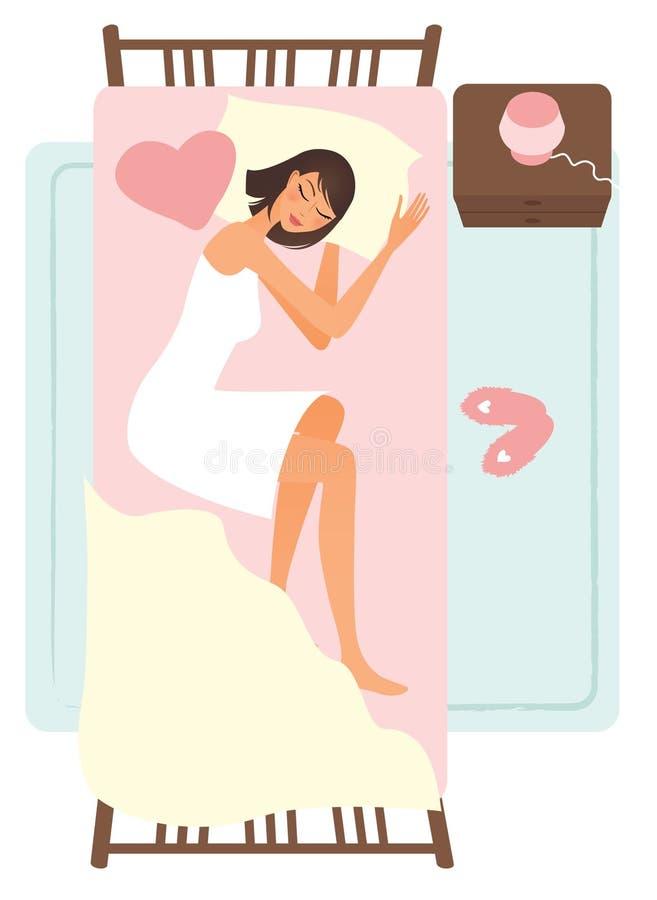 sypialna kobieta royalty ilustracja