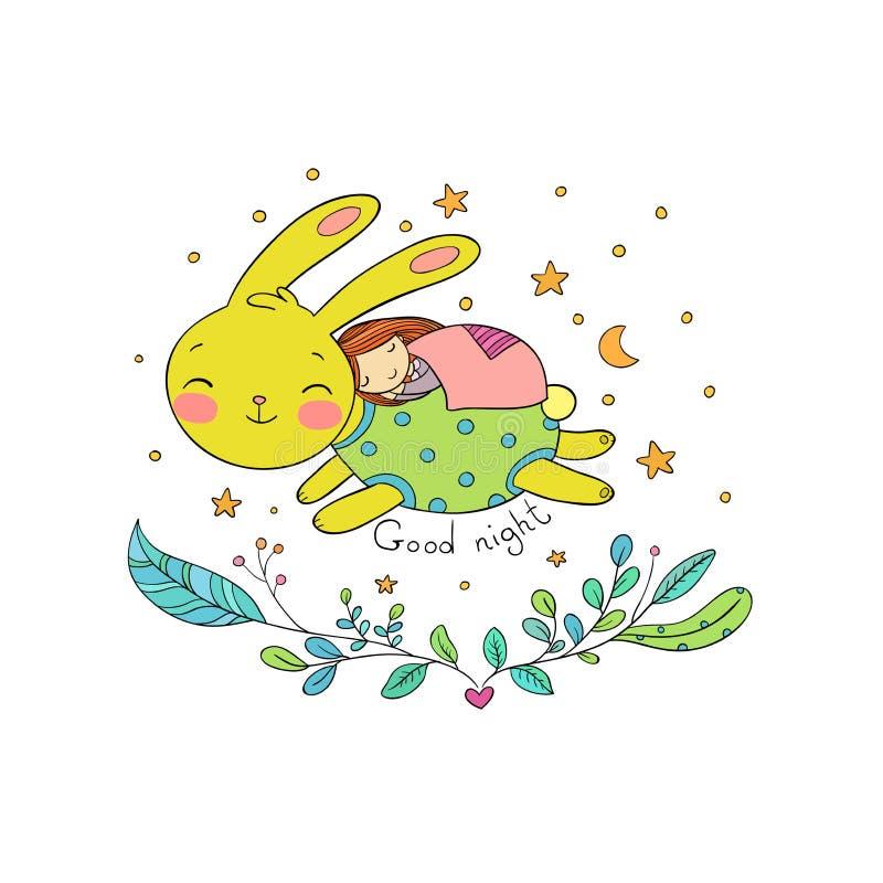 Sypialna kreskówki dziewczyna, królik i royalty ilustracja