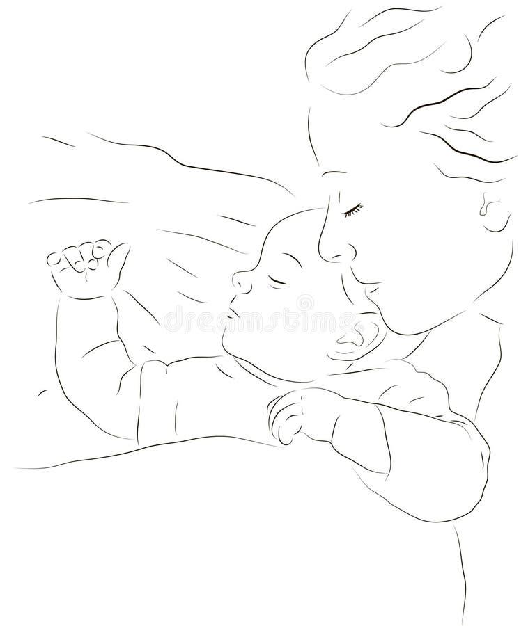 Sypialna matka i dziecko royalty ilustracja