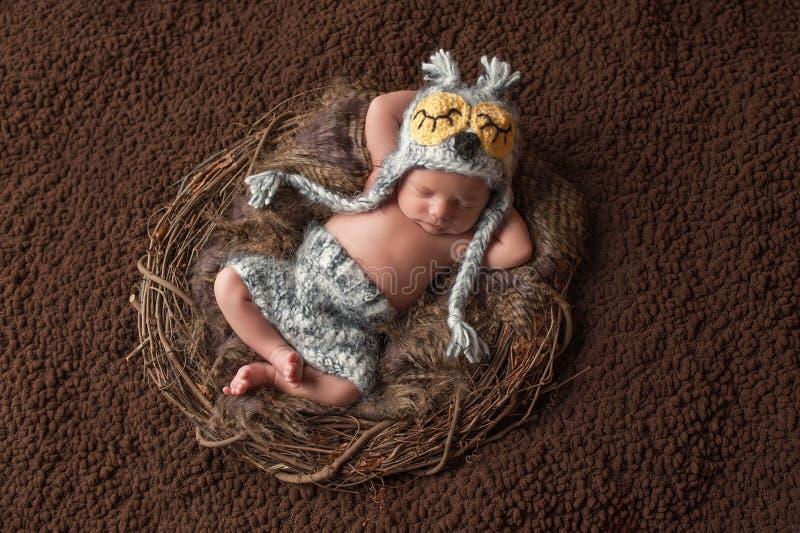Sypialna Nowonarodzona chłopiec Jest ubranym sowa kapelusz fotografia royalty free