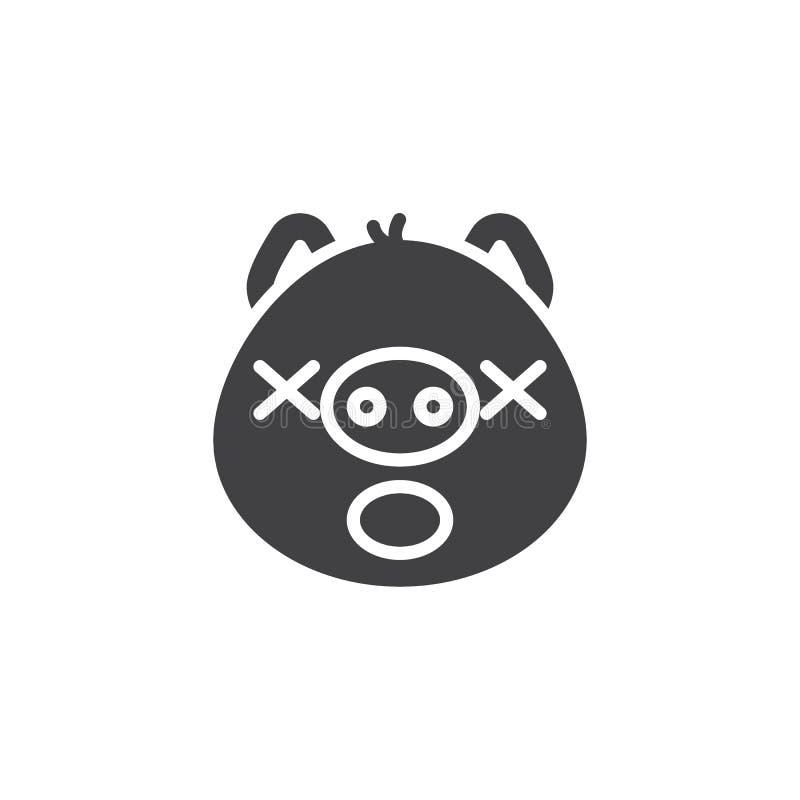 Sypialna prosiątko twarzy emoticon wektoru ikona ilustracji