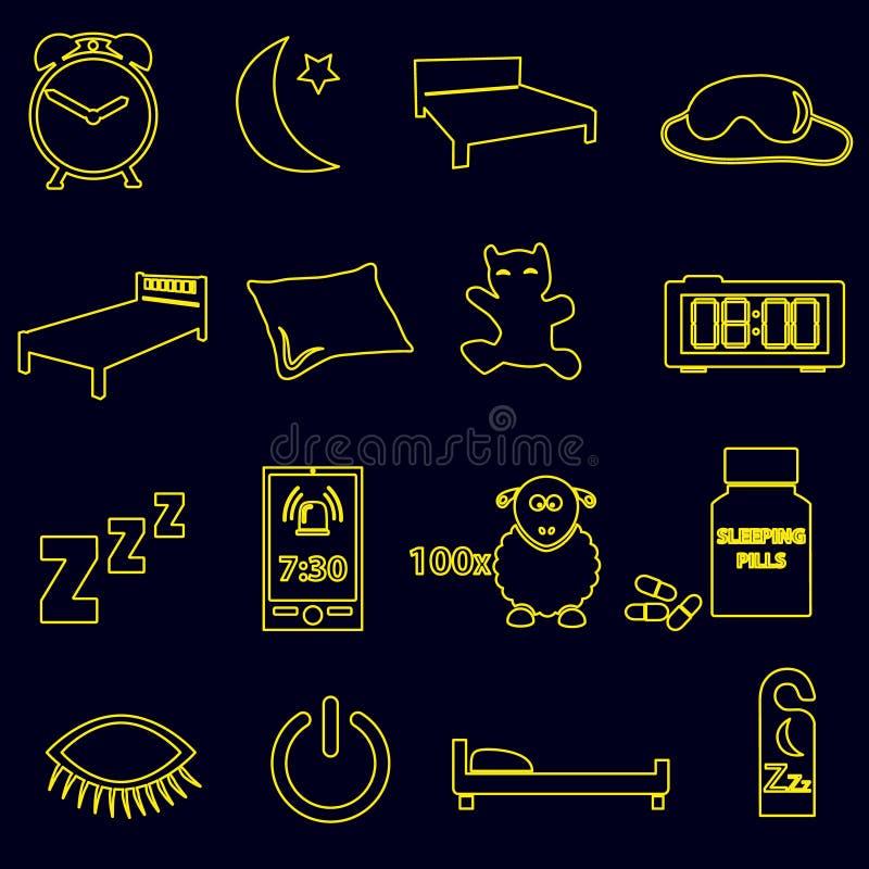 Sypialnego czasu konturu proste ikony ustawiają eps10 ilustracji