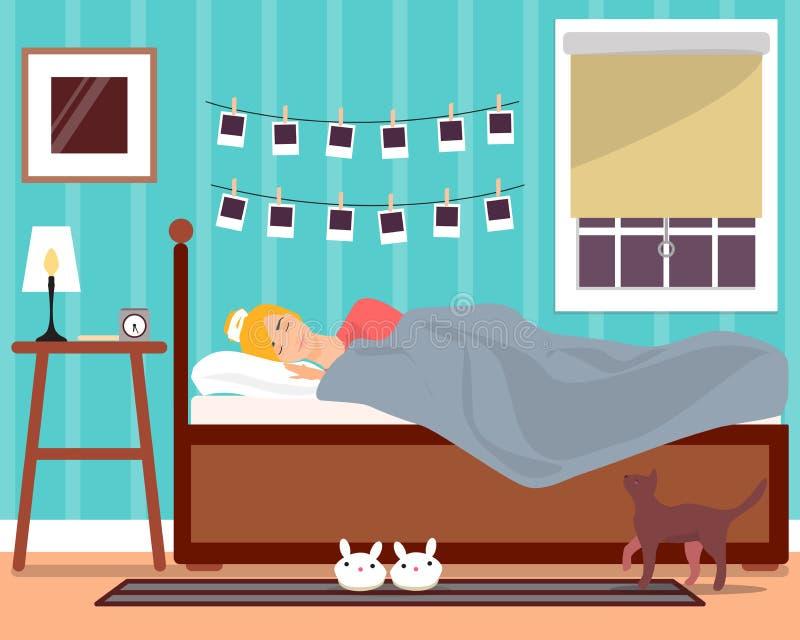 Sypialnej młodej dziewczyny wektorowa płaska ilustracja royalty ilustracja