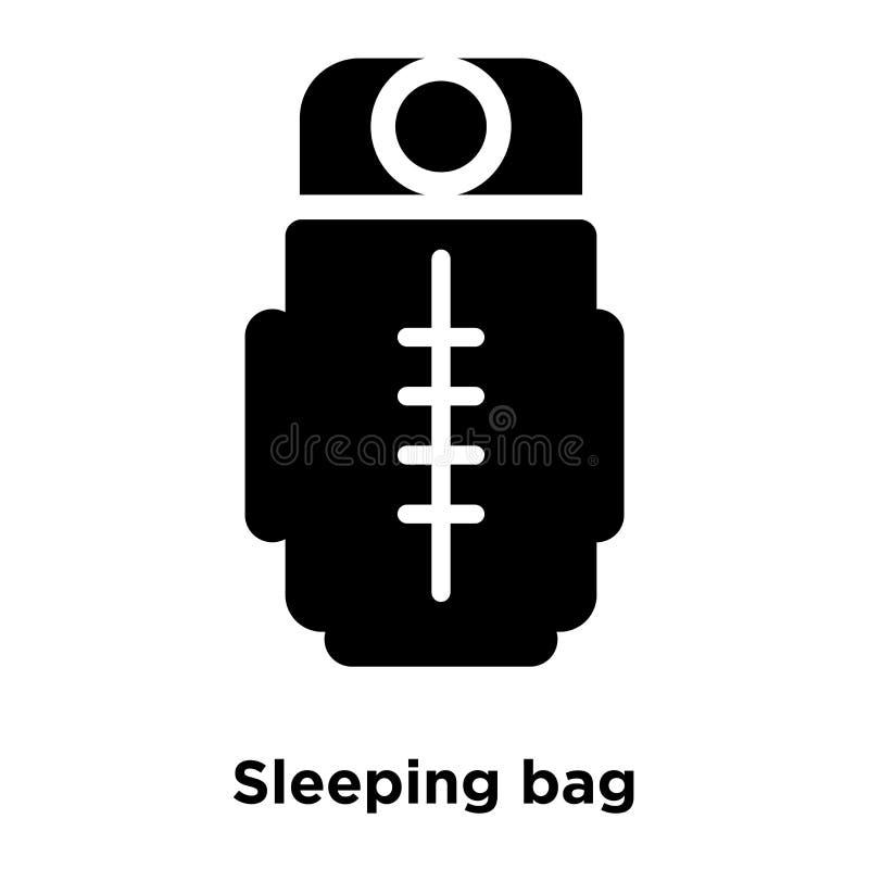 Sypialnej torby ikony wektor odizolowywający na białym tle, logo conc ilustracja wektor