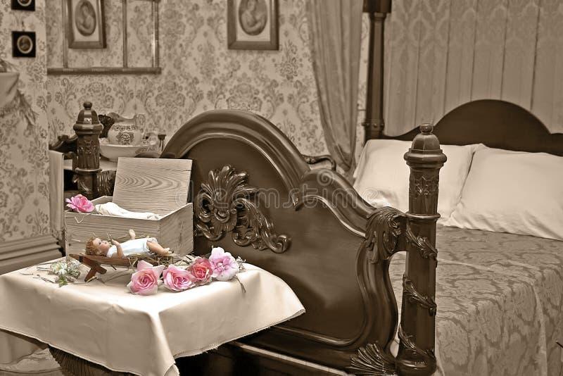 sypialni bożych narodzeń wystroju wiktoriański rocznik obrazy royalty free