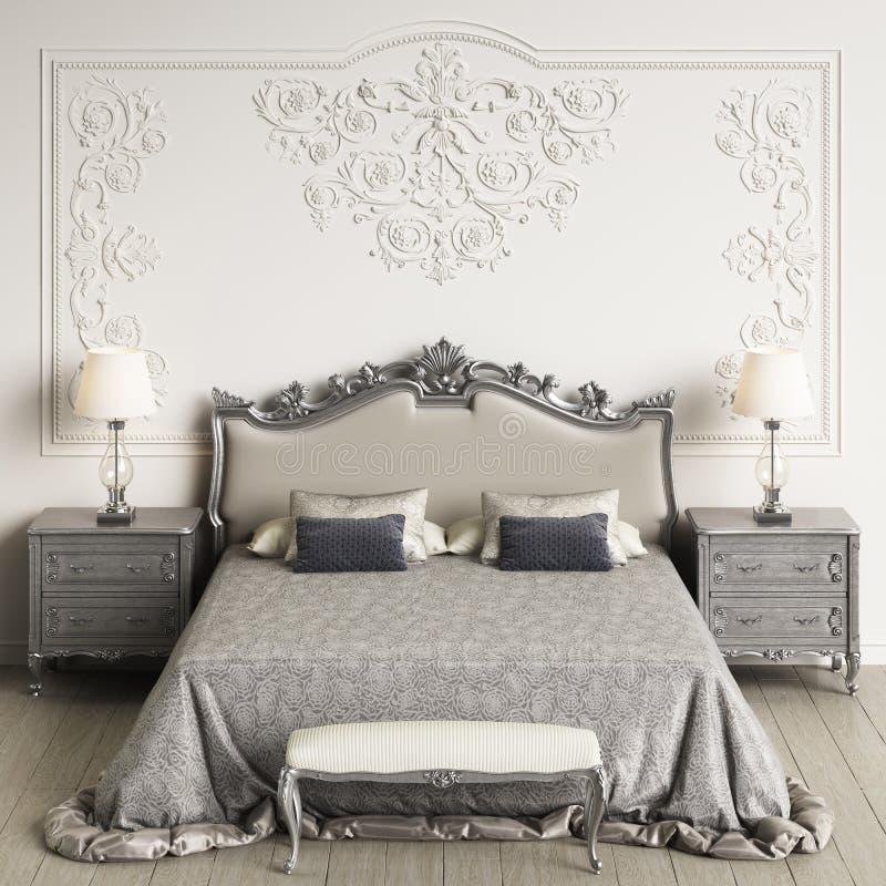 sypialni klasyka wnętrze Cyfrowej ilustracja świadczenia 3 d ilustracja wektor