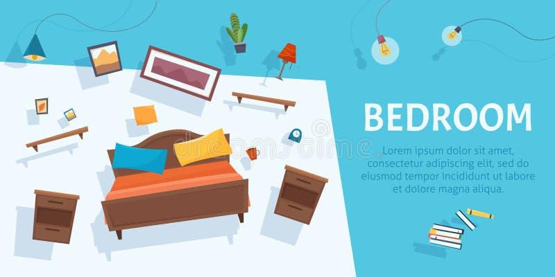 Sypialni meblarski unosić się na tle Spławowy wnętrze ilustracji
