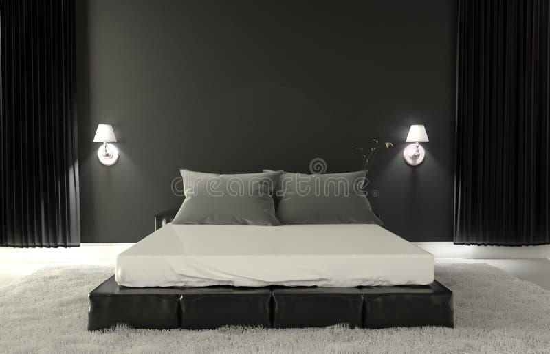 Sypialni Nowożytny wnętrze - izbowy zmroku styl ?wiadczenia 3 d royalty ilustracja
