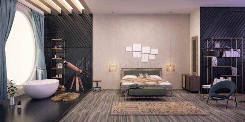 sypialni projekta wnętrze nowożytny ilustracja wektor