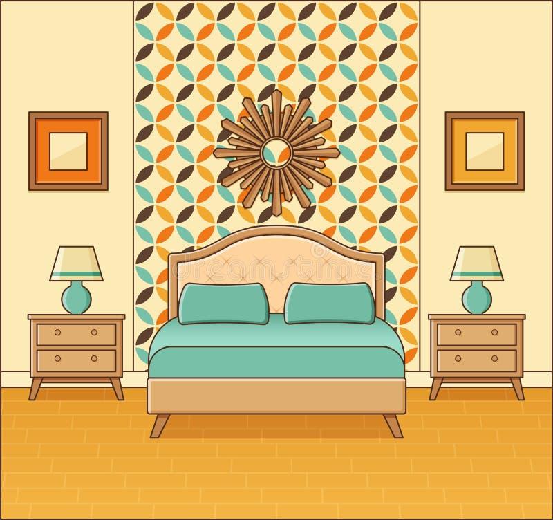 Sypialni retro wnętrze Pokój hotelowy w płaskim projekcie Wektorowy Illust royalty ilustracja