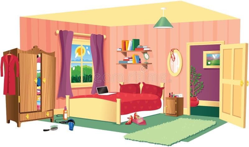 Sypialni scena ilustracja wektor