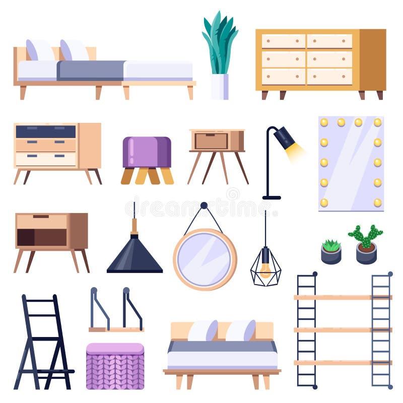 Sypialni wnętrza odosobnione ikony Wektorowa płaska ilustracja Wygodny scandinavian loft mieszkanie i domowy meble royalty ilustracja