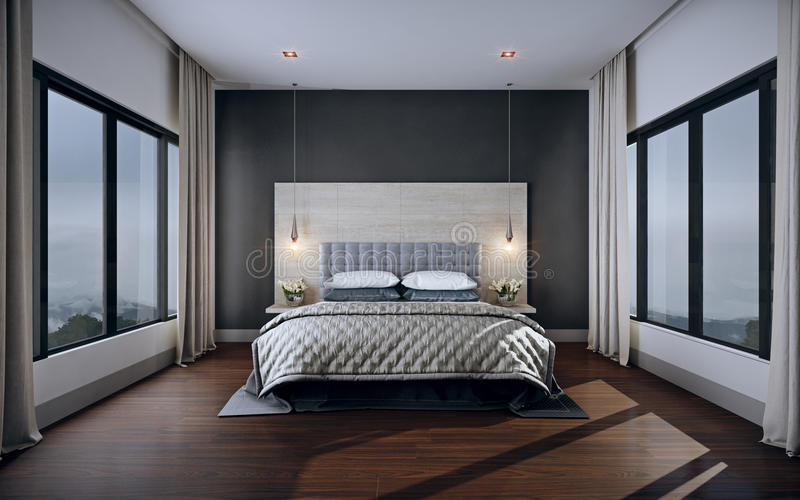 Sypialni wnętrze, 3d rendering obraz stock