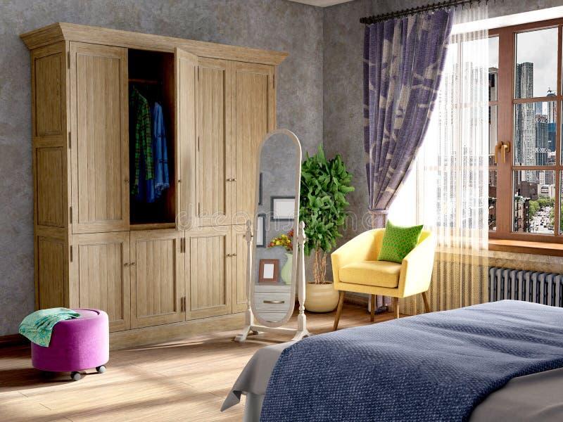 Sypialni wnętrze w popielatym kolorze royalty ilustracja
