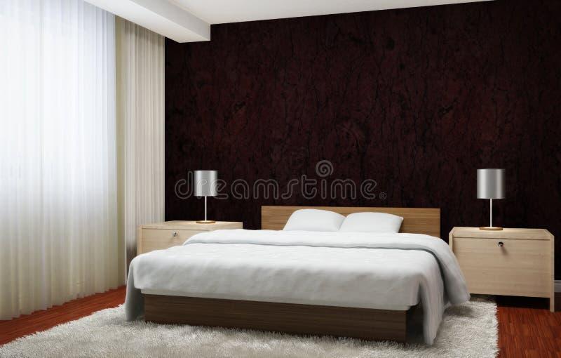 Sypialni wnętrze wykonujący w ciemnym brązie tonuje z lekkimi drewnianymi meblowaniami i białym dywanem ilustracja wektor