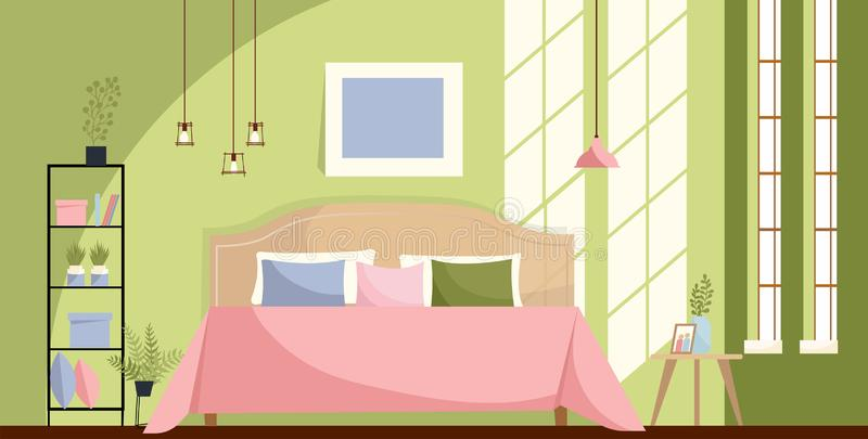 Sypialni wnętrze z łóżkiem, nightstands, półka, duzi okno Słońca światło na zieleni ścianie i Różowej łóżkowej pokrywie z wiele p ilustracja wektor