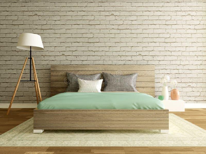 Sypialni wnętrze z ściana z cegieł, nowożytny pokój ilustracji