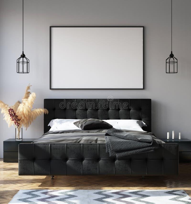 Sypialni wnętrze z plakatowym mockup, nowożytny styl ilustracji