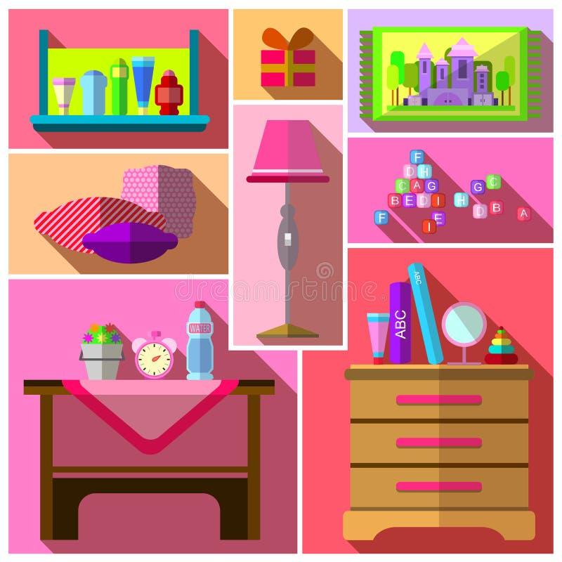 Sypialnia dla dziewczyn Dziewczyny sypialnia royalty ilustracja