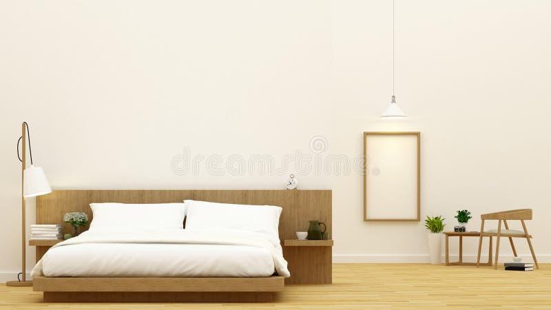 Sypialnia i jadalnia dla kondominium i hotelowego projekta - 3d rendering zdjęcia royalty free