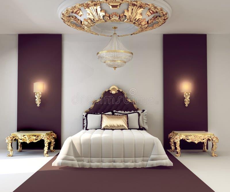 sypialnia luksus dwoisty meblarski złoty ilustracja wektor