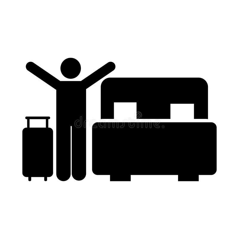 Sypialnia, mężczyzna, szczęśliwy, podróż, hotelowa ikona Element hotelowa piktogram ikona Premii ilo?ci graficznego projekta ikon ilustracja wektor