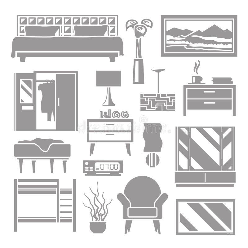 Sypialnia meble Popielaty set ilustracja wektor