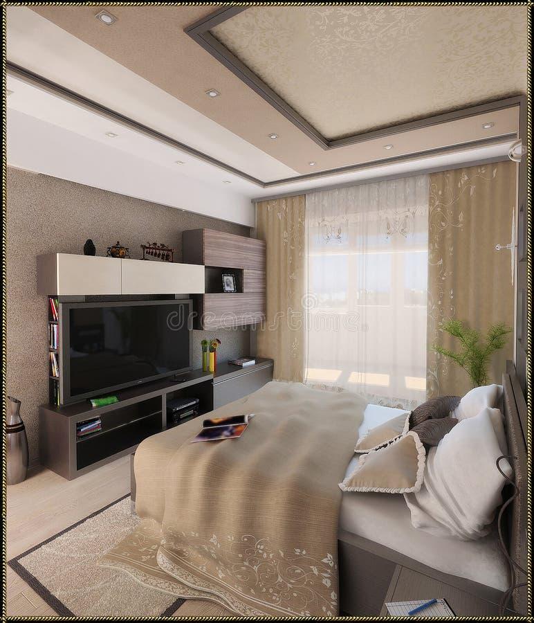 Sypialnia nowożytny stylowy wewnętrzny projekt, 3D odpłaca się ilustracja wektor