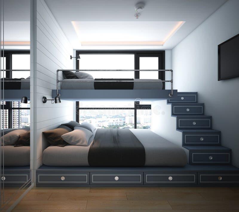 Sypialnia projekt, wnętrze nowożytny wygodny styl ilustracja wektor