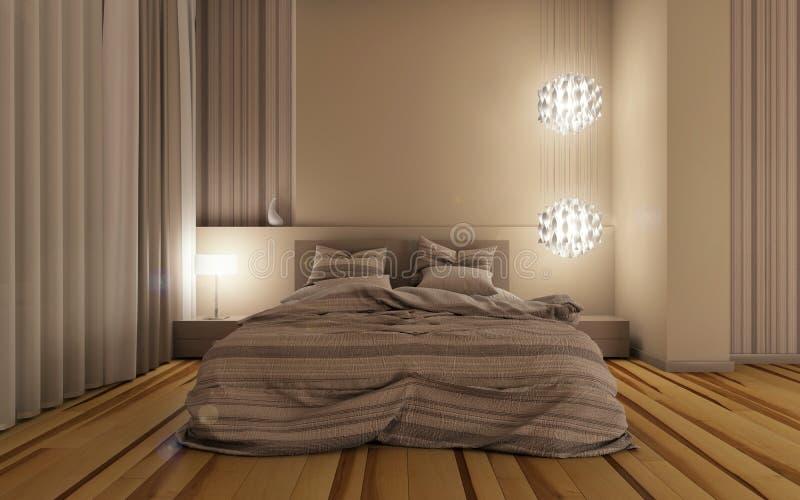 Sypialnia przy noc ilustracji