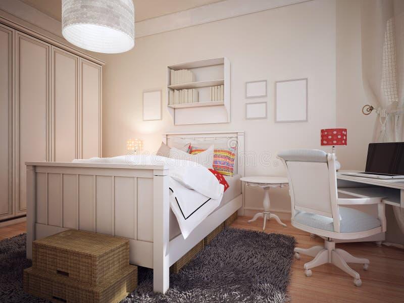 Sypialnia w śródziemnomorskim projekcie ilustracja wektor