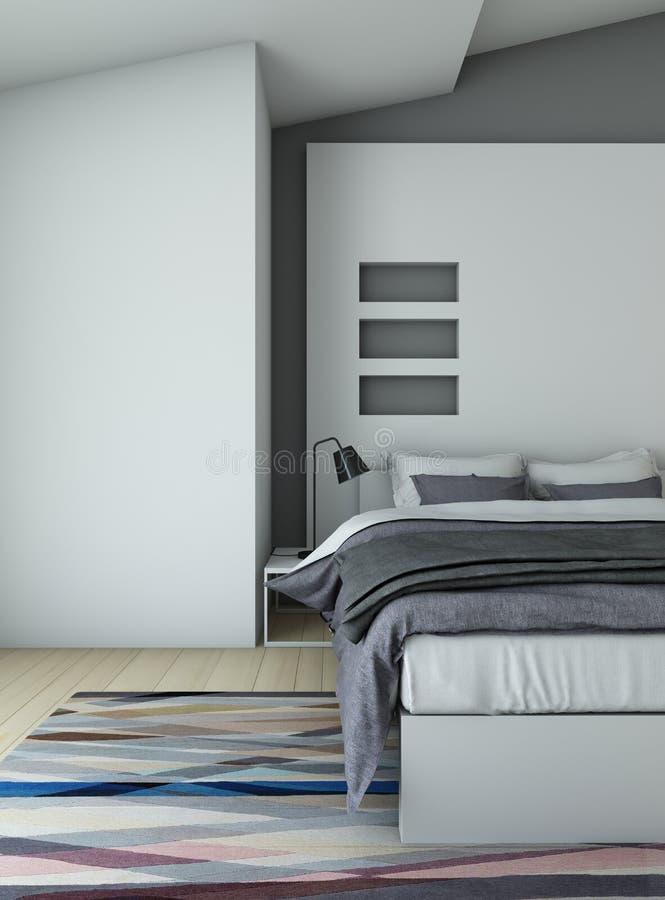 Sypialnia w grey ilustracja wektor